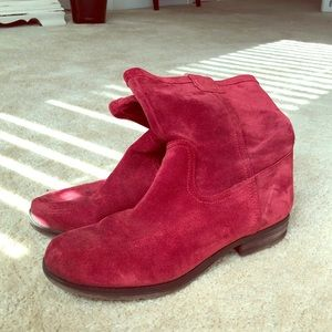 Naturalizer Red Suede Booties